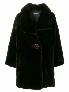 Issey Miyake Pre-Owned faux-fur oversize coat - Brown