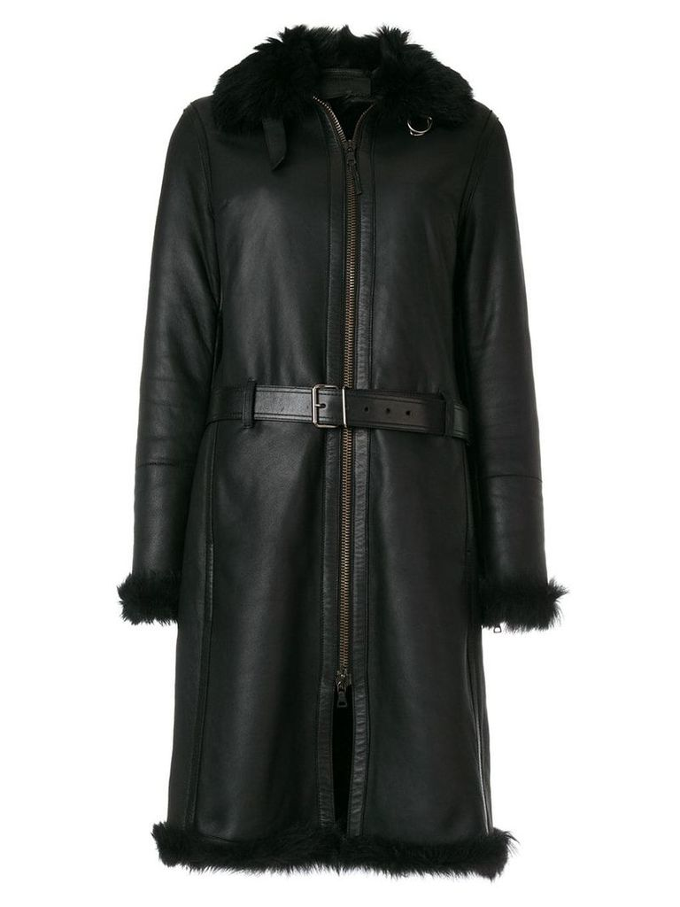 Prada Vintage long belted coat - Black