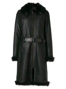 Prada Pre-Owned long belted coat - Black