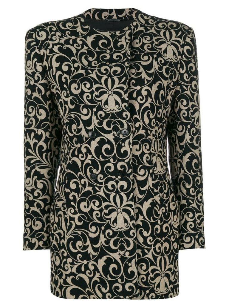 Versace Vintage floral patterned coat - Black
