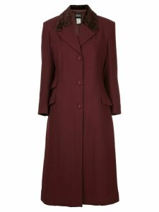 Versace Pre-Owned collar bore long jacket coat - Red