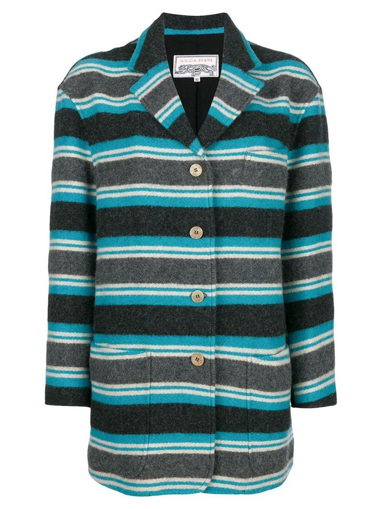 Krizia Vintage striped fitted coat - Blue