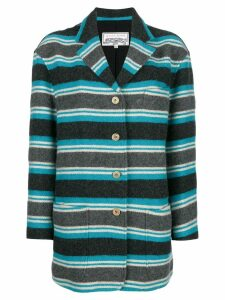 Krizia Pre-Owned striped fitted coat - Blue