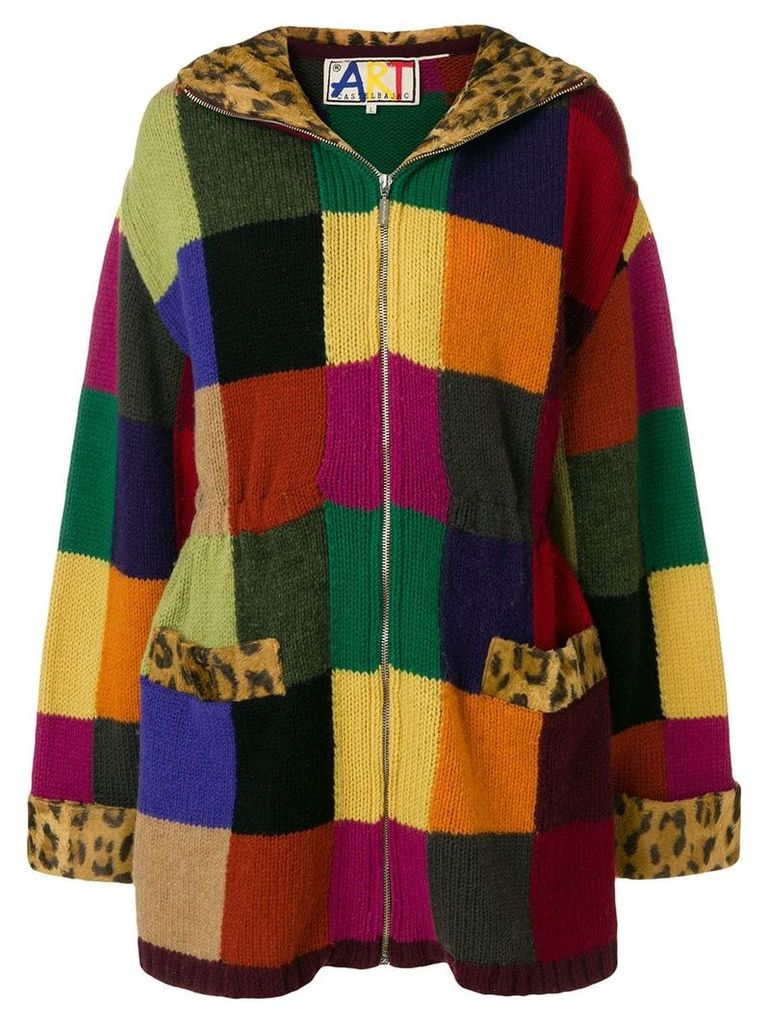 Jc De Castelbajac Vintage knitted patch coat - Multicolour