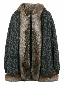 VALENTINO PRE-OWNED leopard print fur coat - Grey