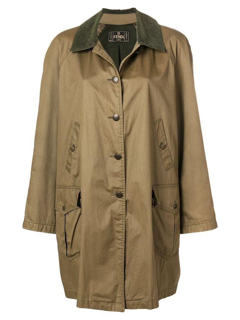 Fendi Vintage corduroy collar parka coat - Green