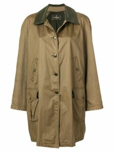 Fendi Pre-Owned corduroy collar parka coat - Green