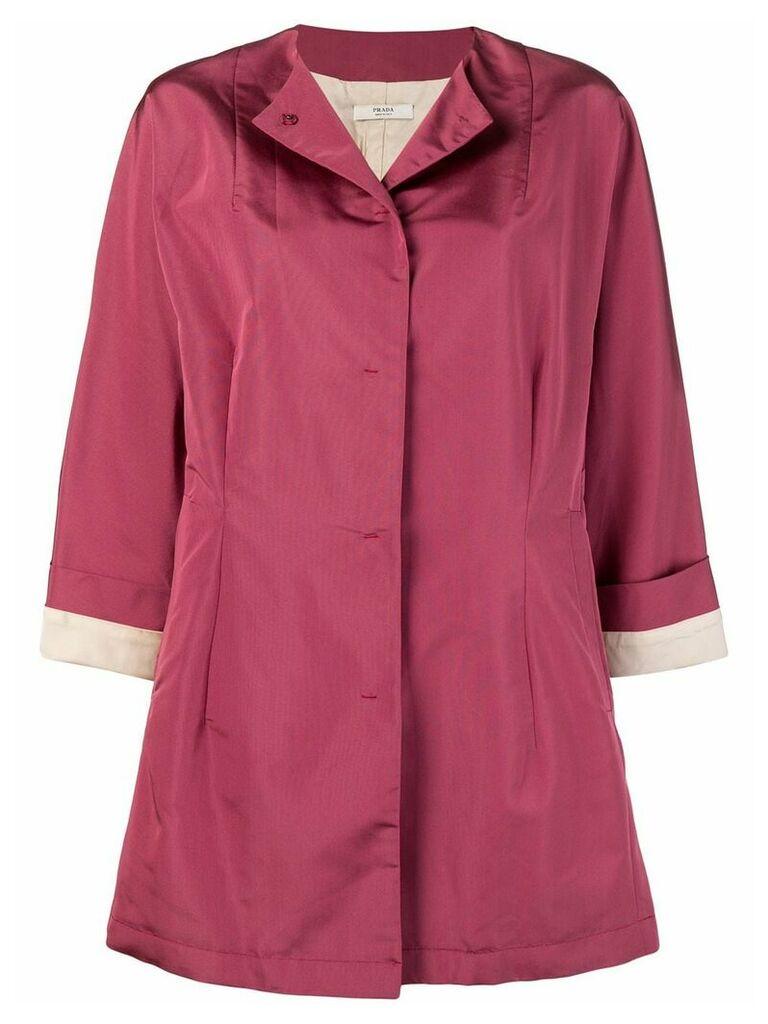 Prada Vintage oversized collarless coat - Pink