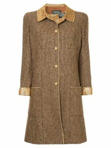 Chanel Pre-Owned straight midi tweed coat - Brown