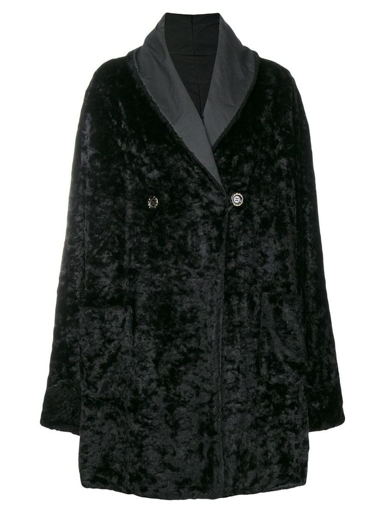 Fendi Vintage fur effect boxy coat - Black