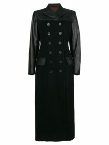 Jean Paul Gaultier Pre-Owned faux leather long coat - Black