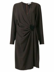 VALENTINO PRE-OWNED wrap draped dress - Brown
