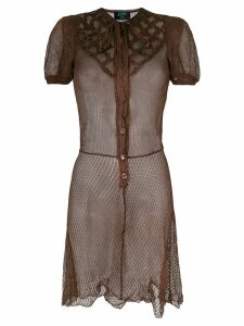 Jean Paul Gaultier Pre-Owned cross stitch detail dress - Brown
