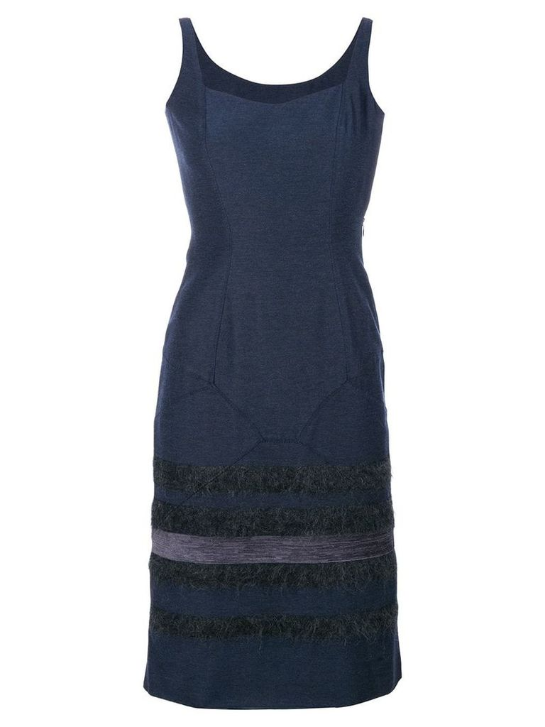 John Galliano Vintage stripes panelled dress - Blue