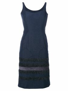 John Galliano Pre-Owned stripes panelled dress - Blue