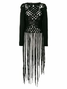 Comme Des Garçons Pre-Owned knitted fringed dress - Black