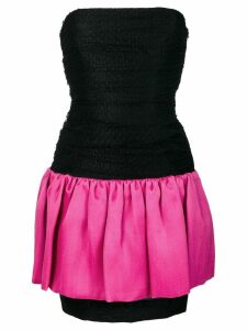 Yves Saint Laurent Pre-Owned strapless color block dress - Black