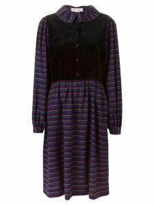 Lanvin Pre-Owned waistcoat panel striped dress - Black