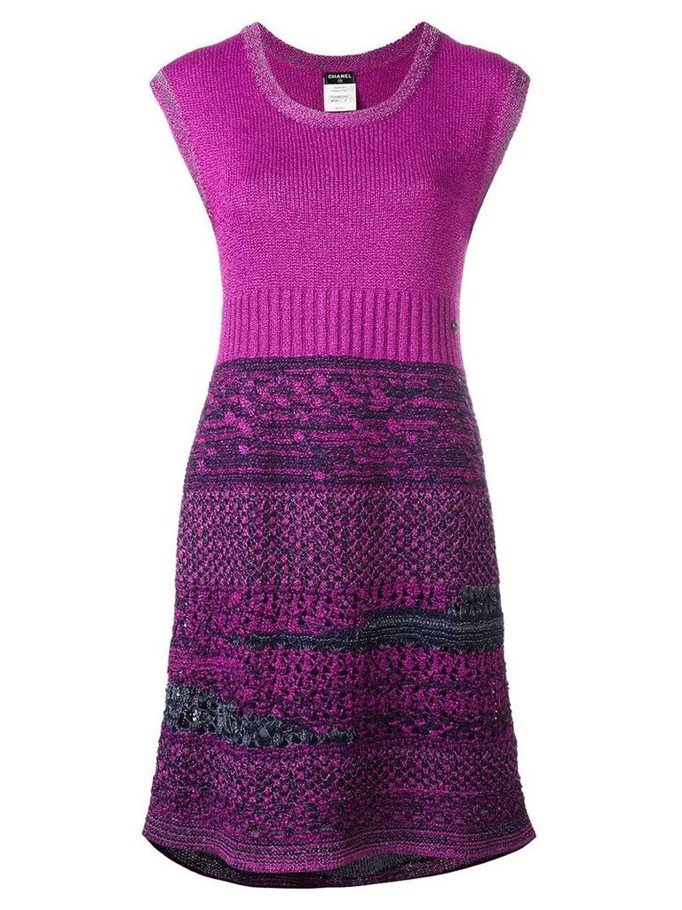 Chanel Vintage bouclé knit dress - Purple
