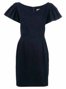 Yves Saint Laurent Pre-Owned ruffle-sleeve dress - Blue
