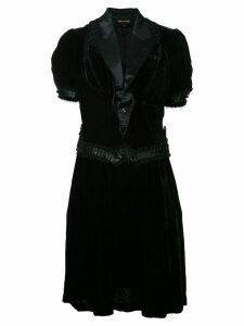 Comme Des Garçons Pre-Owned satin lapel velvet dress - Black