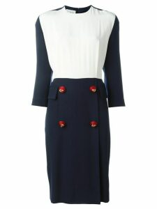 Gianfranco Ferré Pre-Owned contrasting panel midi dress - Blue