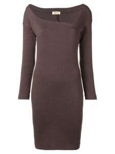 Romeo Gigli Pre-Owned asymmetric neck fitted dress - Brown