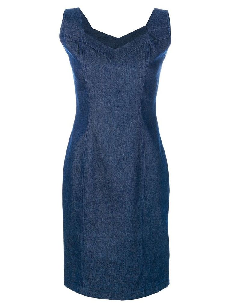 John Galliano Vintage denim sleeveless dress - Blue
