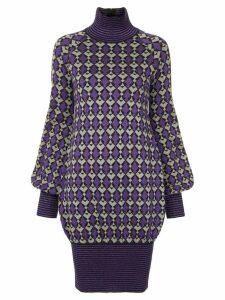 Chanel Pre-Owned geometric pattern knitted dress - Purple