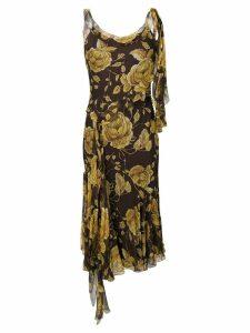 Christian Dior Pre-Owned floral print bias-cut dress - Brown
