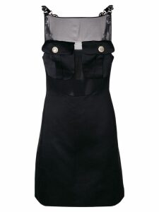 VERSACE PRE-OWNED sheer panel mini dress - Black
