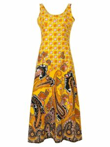 William Vintage geometric print midi dress - Yellow