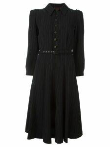 Jean Paul Gaultier Pre-Owned pinstriped belted dress - Black