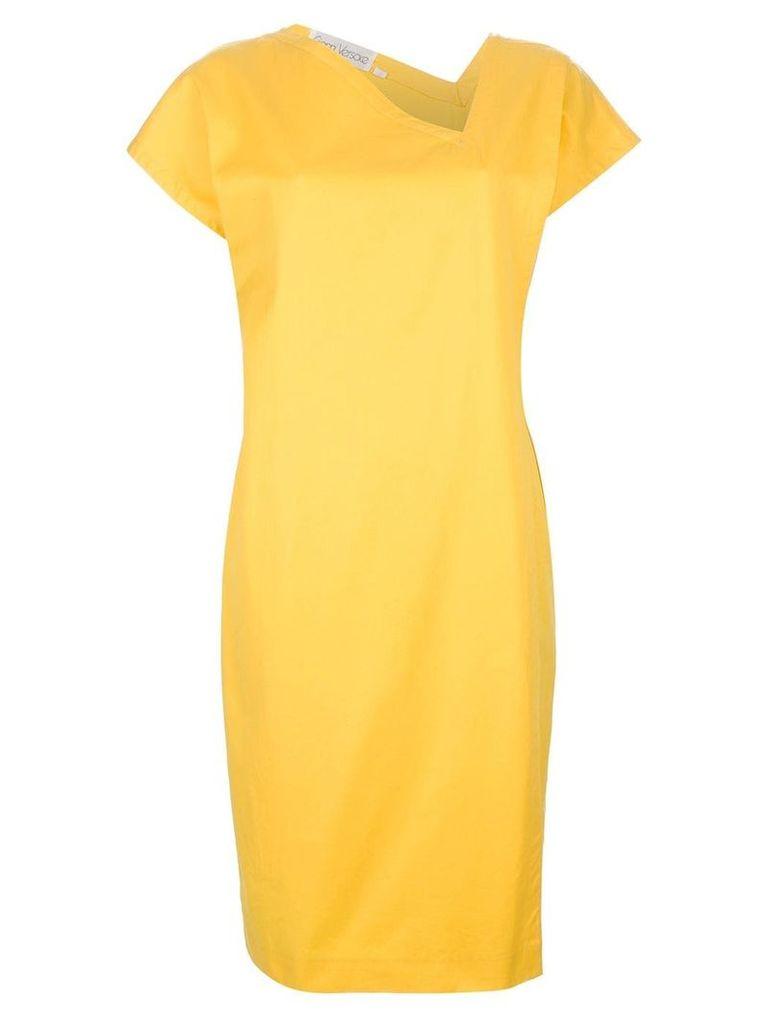 Versace Vintage asymmetric neck dress - Yellow