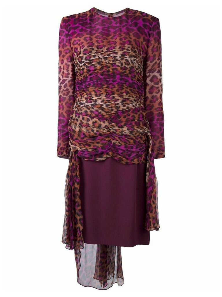 Jean Louis Scherrer Vintage gathered leopard print dress - Pink