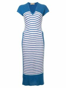 Issey Miyake Pre-Owned striped knit dress - Blue