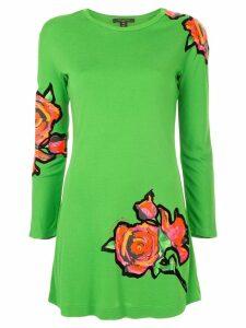 Louis Vuitton Pre-Owned roses print longsleeved dress - Green
