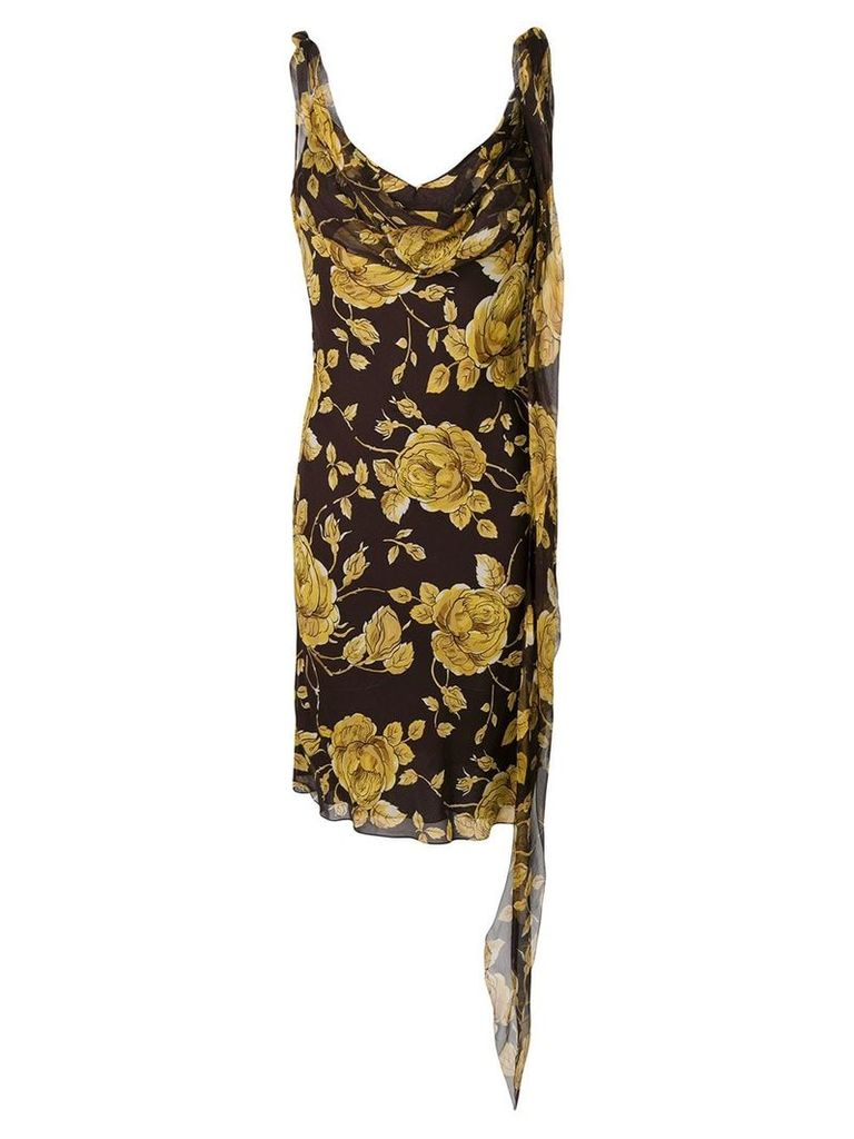 Christian Dior Vintage floral cut dress - Brown