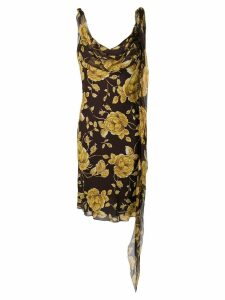 Christian Dior Pre-Owned floral cut dress - Brown