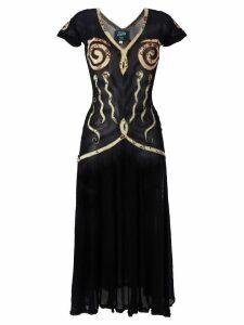 Jean Paul Gaultier Pre-Owned appliqué sheer dress - Black