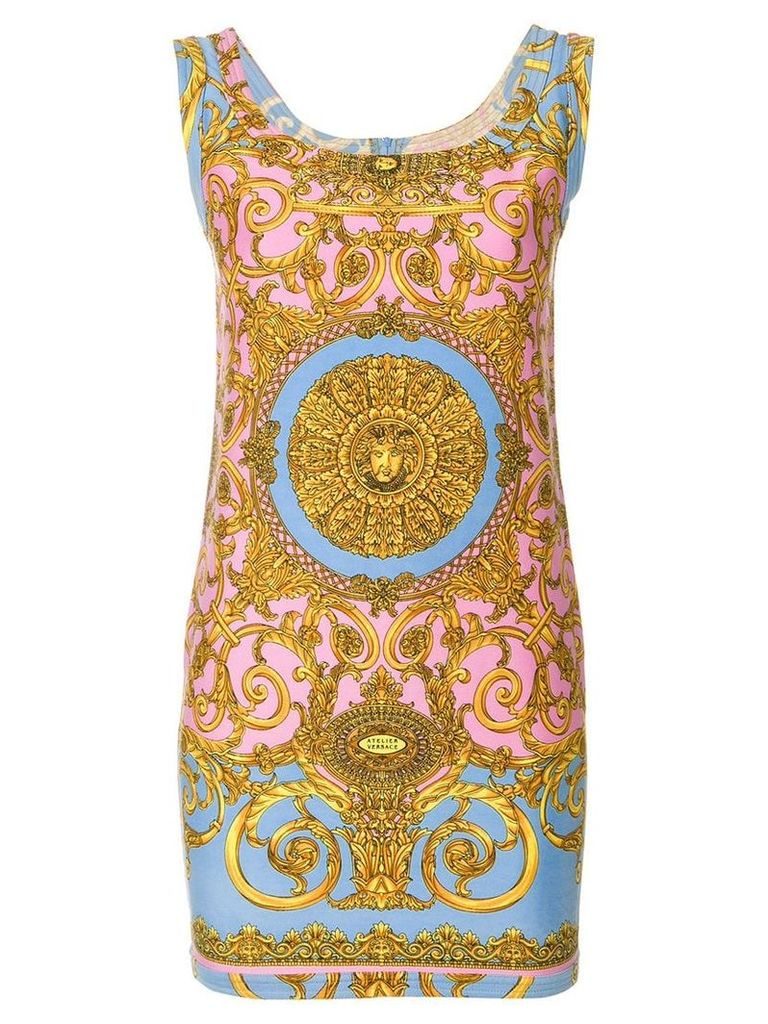 Versace Vintage Pastel Baroque printed dress - Multicolour