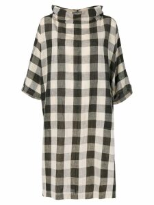 Issey Miyake Pre-Owned cowl neck check dress - Brown