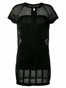 Chanel Pre-Owned mesh panel mini dress - Black