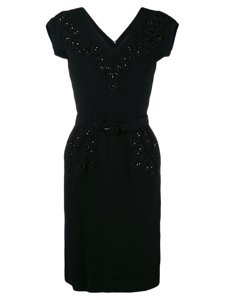 Balenciaga Vintage short-sleeve fitted midi dress - Black