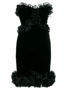 Yves Saint Laurent Pre-Owned frill-trim fitted dress - Black