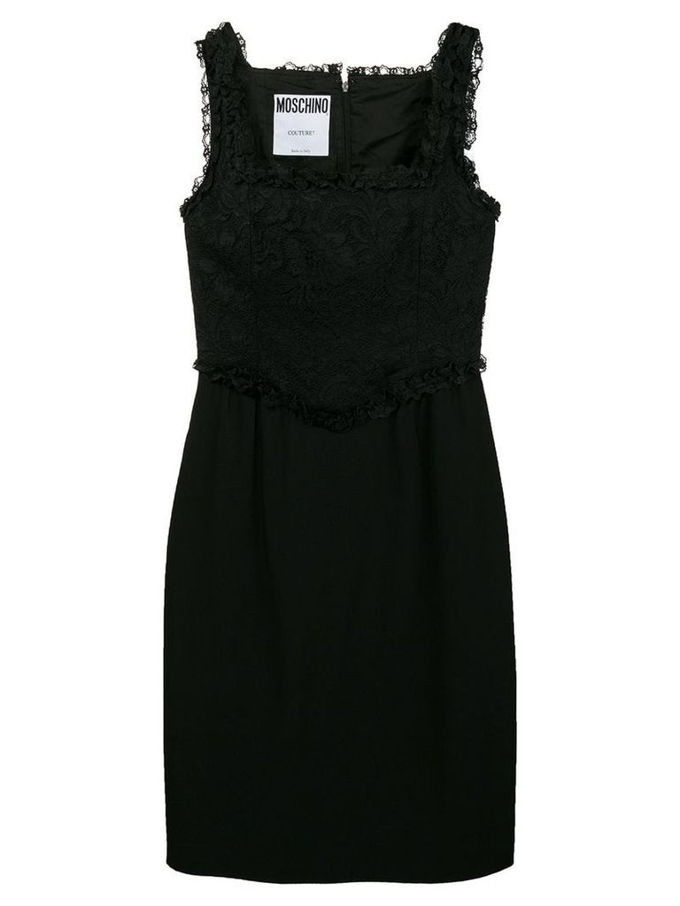 Moschino Vintage lace panel short dress - Black