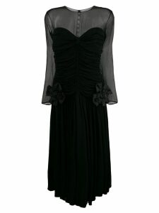 Nina Ricci Pre-Owned gathered sheer midi dress - Black