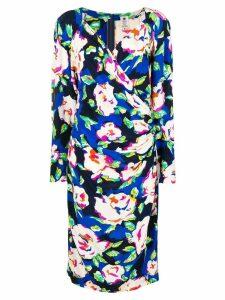 Emanuel Ungaro Pre-Owned floral print wrap-front midi dress - Blue