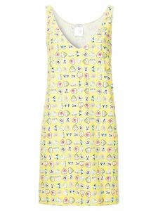 Chanel Pre-Owned hearts print sleeveless dress - Yellow