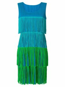 ISSEY MIYAKE PRE-OWNED pleated fringe dress - Blue